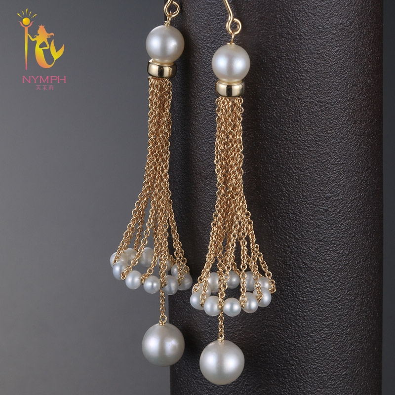 [NYMPH] drop earrings For Women Fine Jewelry Fresh Water Pearl Earrings Near Round 2018 Trendy Engagement Gift E339