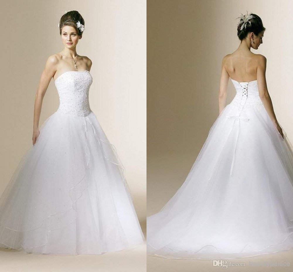 Beautiful Wonderful Cheap Strapless Beaded Tulle Ball Gown Wedding ...