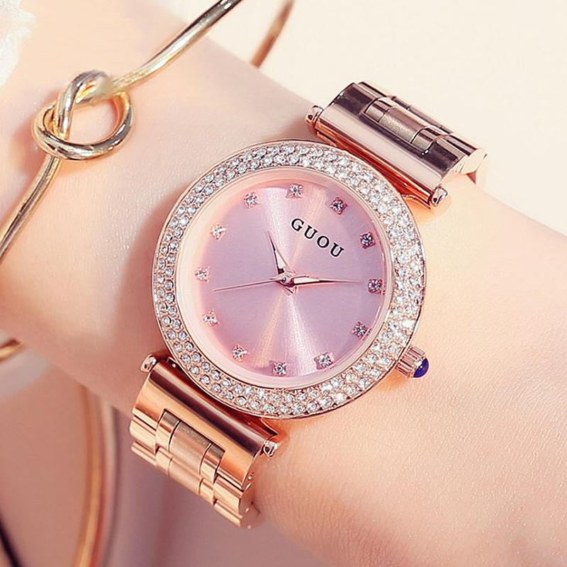 GUOU Fashion Ladies Watch For Women Reloj Mujer Luxury Bracelet Rose Gold Women's Watches Shiny Diamond Clock bayan kol saati kimio brand bracelet watches women reloj mujer luxury rose gold business casual ladies digital dial clock quartz wristwatch hot
