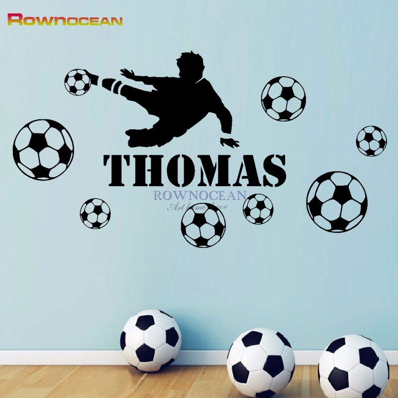 Custom name Football Player Boys Personalised Any Name Bedroom Wall Art Mural Decal Sticker Vinyl Home Decor removeable N-11