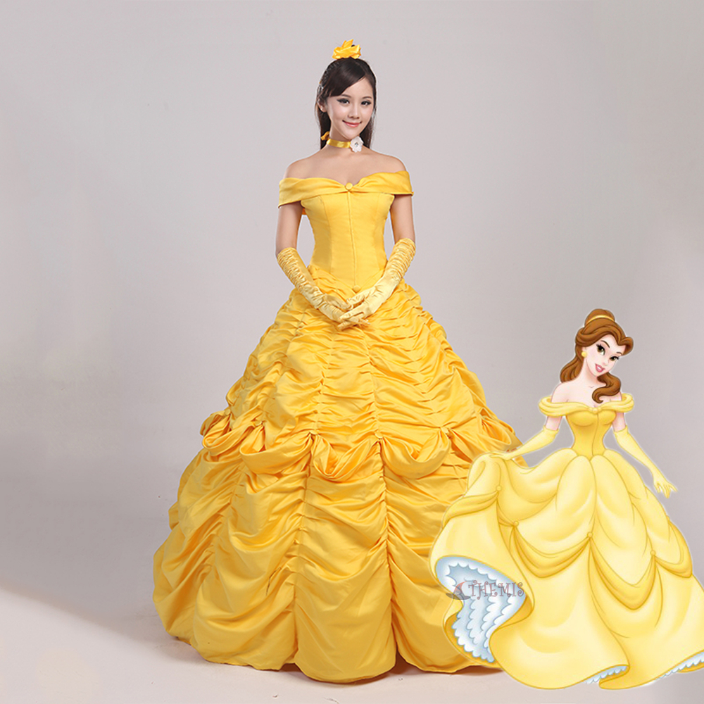 Athemis Anime Beauty and the Beast  yellow  Dress  cosplay Adult style custom made  Dress High Quality