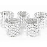 50PCS Silver Rhinestone Napkin Rings Bling Napkin Rings Gold Napkin Ring Diamond Rhinestone Chair Bow Covers Crystal Wedding