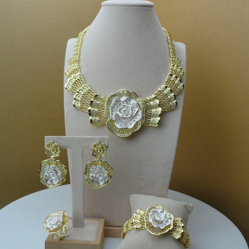 Yuminglai Dubai Gold Jewellery African Jewelry Sets for Women FHK6145