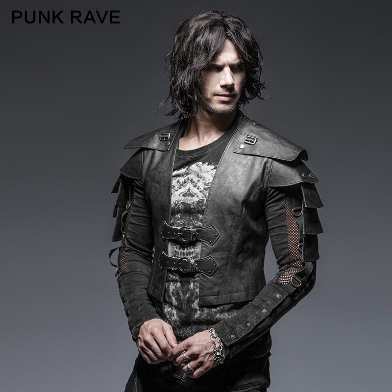 Erkek Kıyafeti'ten Ceketler'de 2018 Punk Rave Rock moda erkek Cosplay Parti Zırh Savaşçı kısa ceket Y632'da  Grup 1