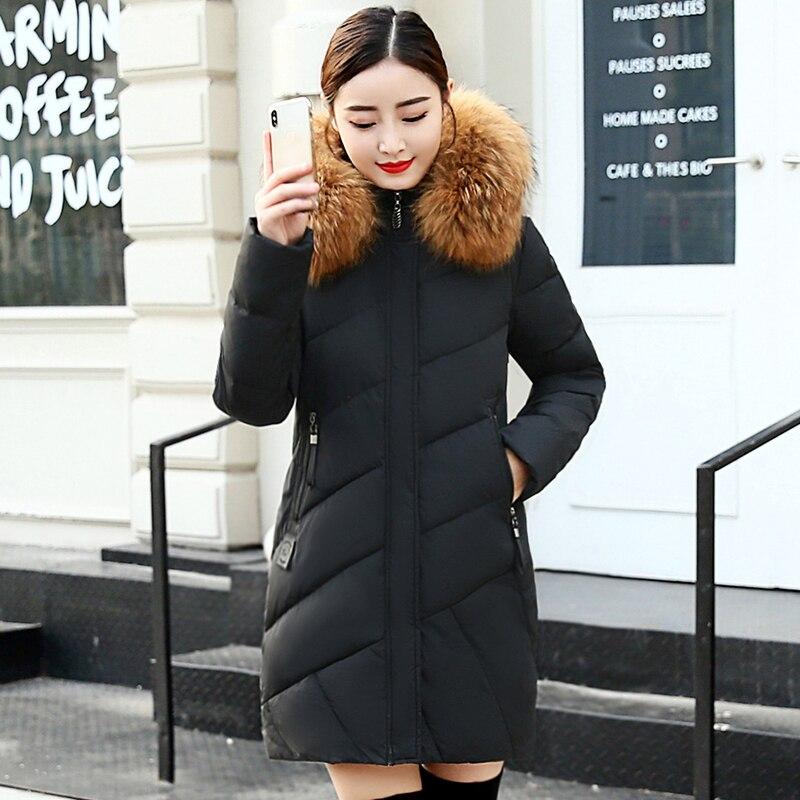 CHANGYUGE 2018 Nouveaux Hiver Vers Le Bas Manteau Femmes Épais Chaud Vers Le Bas Parka Grand Col De Fourrure À Capuchon Moyen Long Jacket Manteaux de Neige