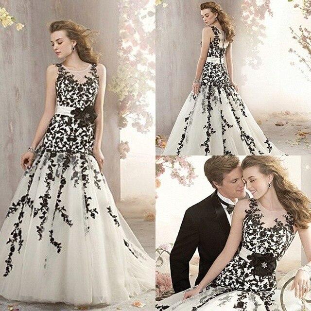 93d0ccc55 Vestido preto e branco apliques De casamento Vestido De Novia Tulle flores  cintos e cintos De