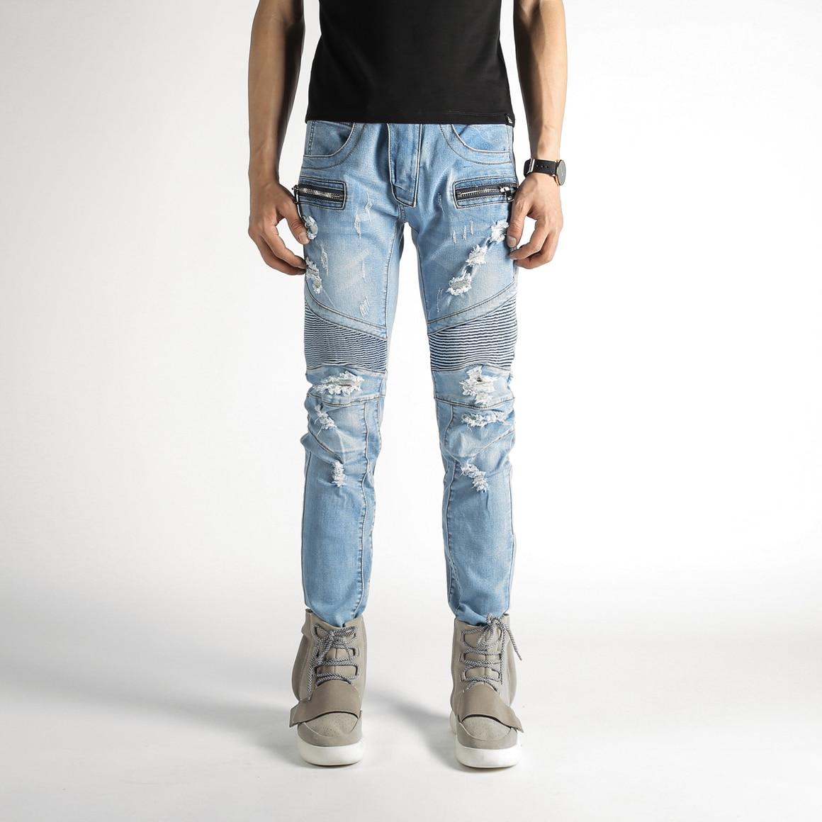 Fashion Men's Classic Jeans Straight Full Length Casual Elastic Design Men Slim Biker Jeans Man Denim Skinny Jeans Men 2017 fashion patch jeans men slim straight denim jeans ripped trousers new famous brand biker jeans logo mens zipper jeans 604