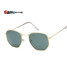 Samjune Men Hexagonal Flat Lenses Aviation Sunglasses Brand Designer New Vintage