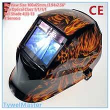 Welding Helmet View Size 100x65mm(3.94×2.56″) Top Optical Class 1111 4 Sensors Shade Range 4(3)-13 Auto Darkening Welding Mask