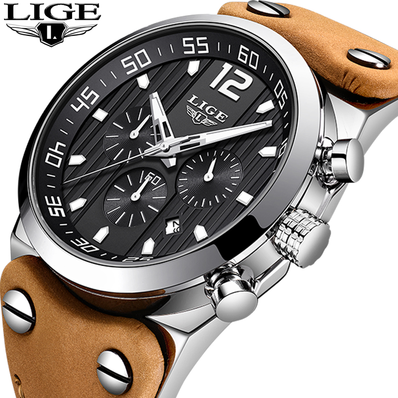 LIGE New Men Watch Top Brand Luxury Fashion Military Leather Quartz Watches Mens Waterproof Sport Watch Relogio Masculino+Box new crrju mens watches top brand luxury quartz watch men waterproof sport military watches men leather relogio masculino 2017