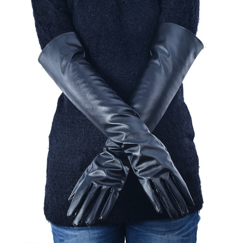 Women's Faux Leather Elbow Gloves Winter Long Gloves Warm Lined Finger Gloves New YP9