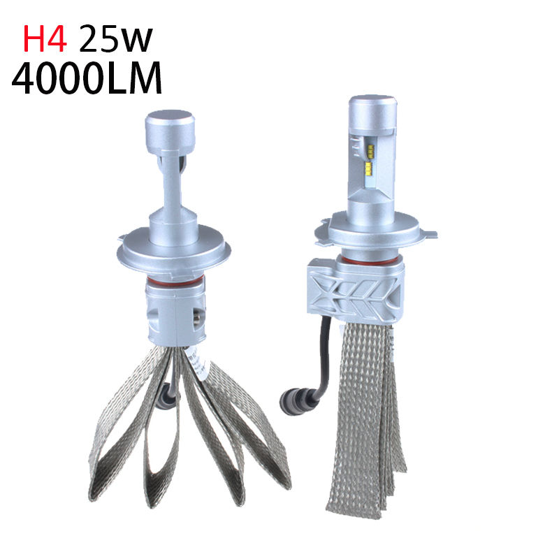 H4 HB2 9003 Led Headlight Fog Bulbs 50w 8000Lm Fanless Auto Headlamp Conversion Kit to Replace Original Haolgen with ZES Chip