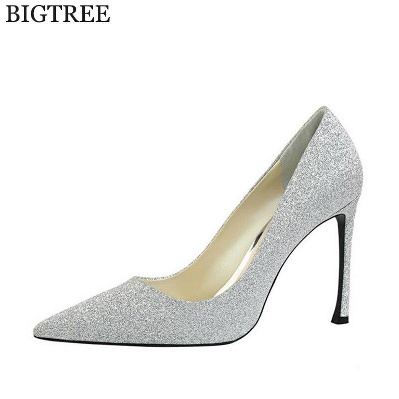 Bigtree Лидер продаж 2017 года новые женские туфли-лодочки Для женщин Обувь PU блестками Обувь на высоком каблуке Zapatos Mujer модные пикантные туфли н...