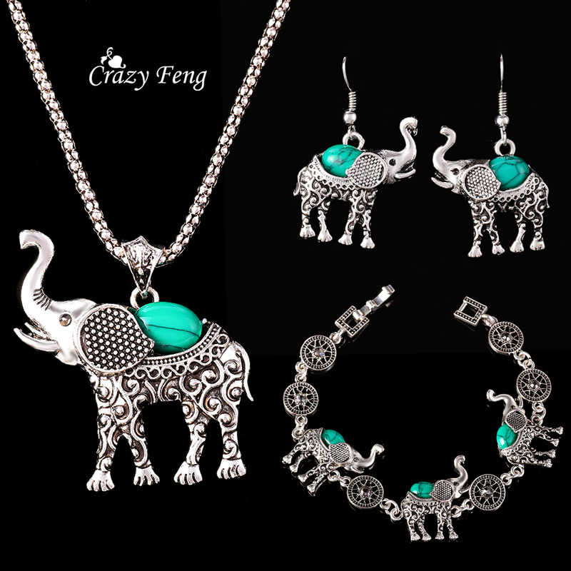 Fashion Green African Jewelry Sets for Women Vintage Silver Color Elephant Pendant Necklace Earrings Bracelets Jewellery Gift