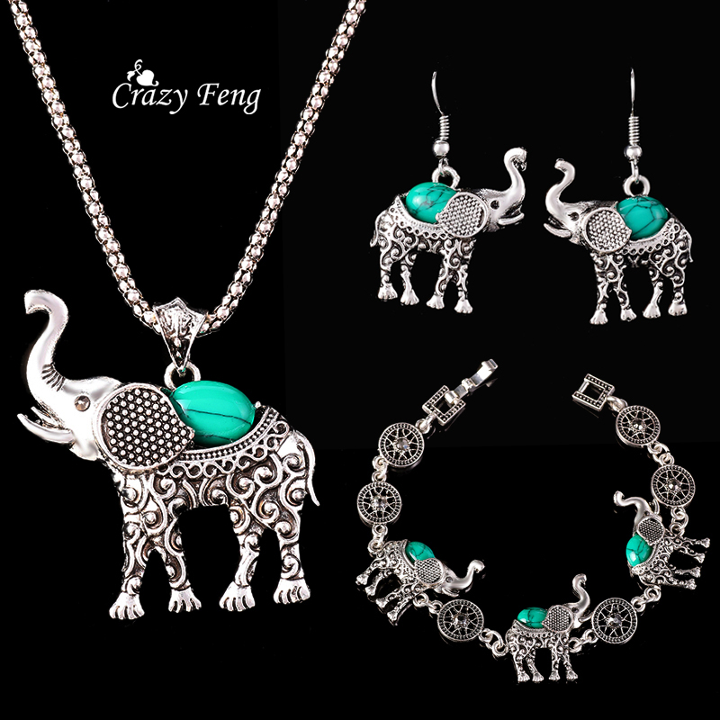 Turquoise Jewellery Set Antique Silver Plated Elephant Necklace and Earrings Sets for Women GjiLfE