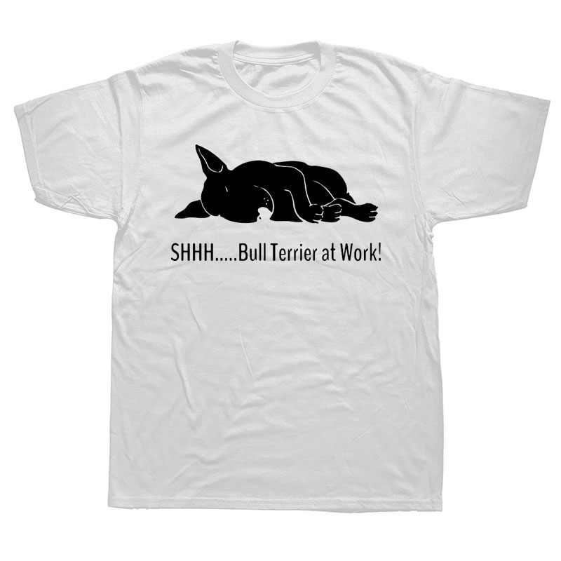 Bull Terrier Di Tempat Kerja Kaos Lucu Grafis Fashion Baru Kapas Lengan Pendek O-Leher T-shirt