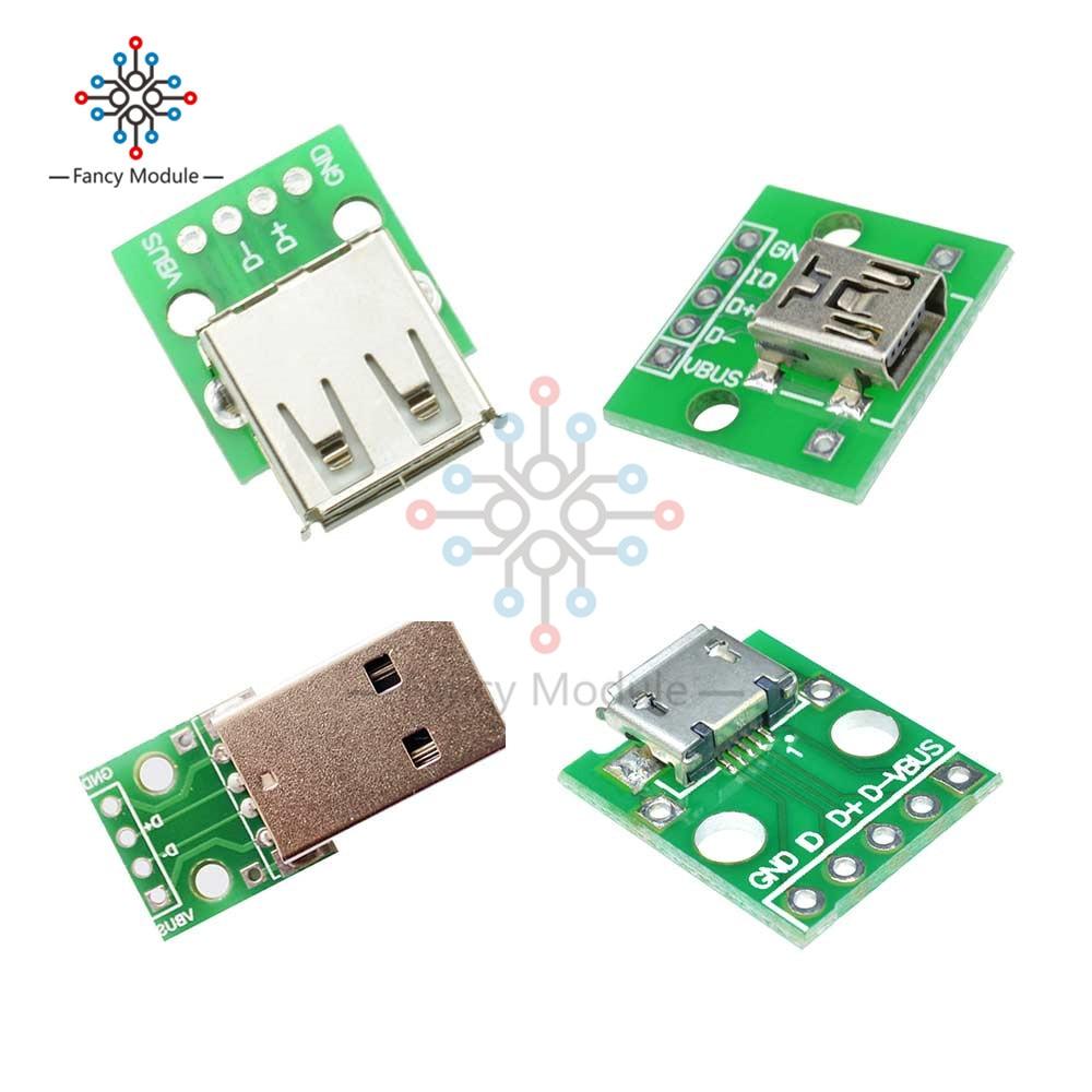 Mini/Micro USB pour DIP Type A femelle/mâle adaptateur USB convertisseur pour 4Pin 2.54mm PCB conseil bricolage alimentation pour connecteur Arduino