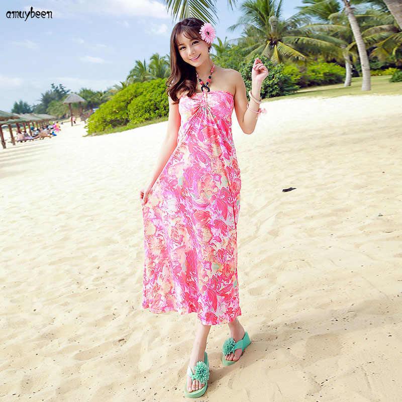 e3439f35a2b ... Matching Couple Clothes Beach Summer Women Dress Bohemian Print floral  Sundress Honeymoon Wear Valentine's Day Long ...