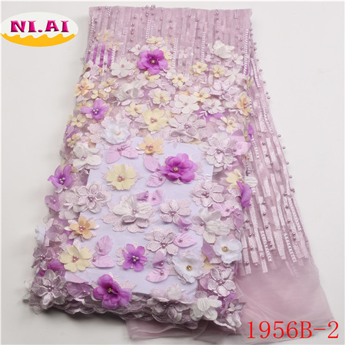 3D Flower Lace Embroidery Fabric Latest Nigerian Lace Fabrics 2018 Luxury Lace Fabric Lilac lace For