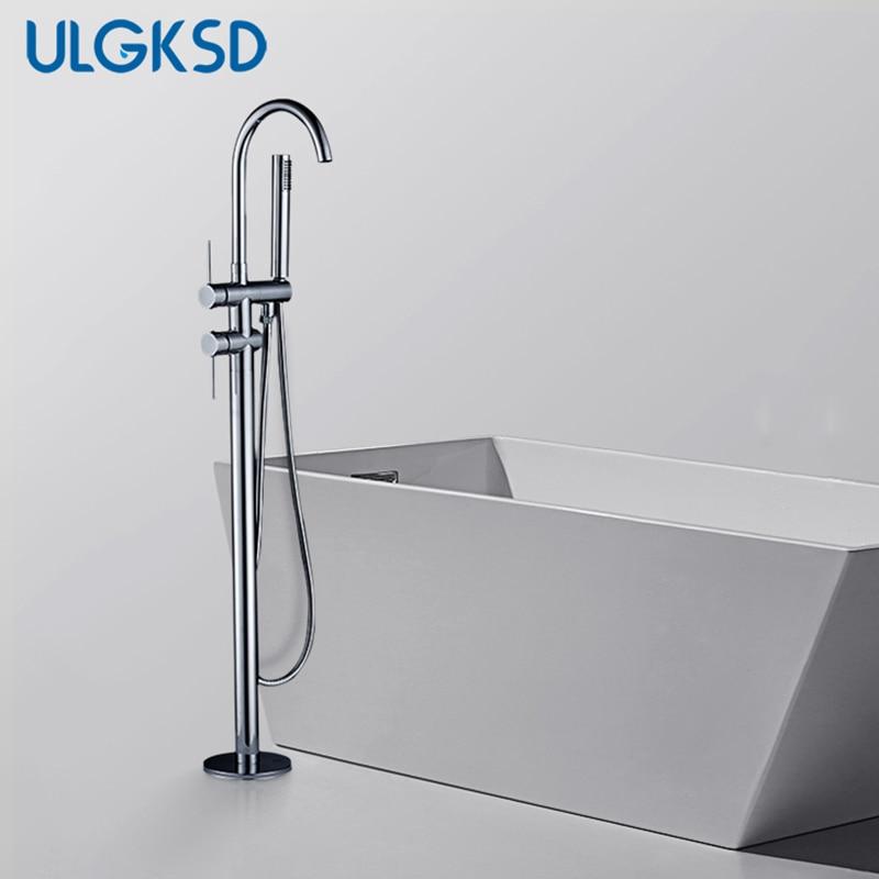 ULGKSD Floor Tub Faucet Chrome Brass W/ Hand Shower Head Bathtub Mixer Tap Faucet W/Hand Shower Para Bathroom Shower