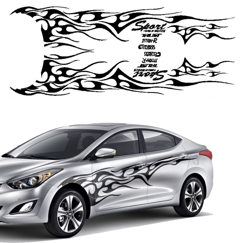 Sticker design for car online - 1 Set Car Truck Flame Totem Graphics Side Decal Vinyl Body Sticker Cool Waterproof Auto Sticker