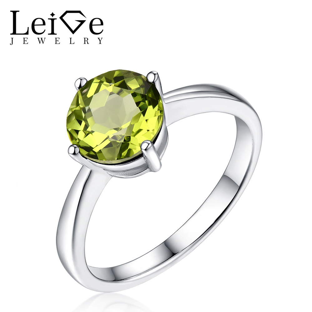 Leige Jewelry Solitaire Peridot Engagement Ring Round Cut Green Gemstone Sterling Silver 925 Rings for Women Anniversary Gift цены онлайн