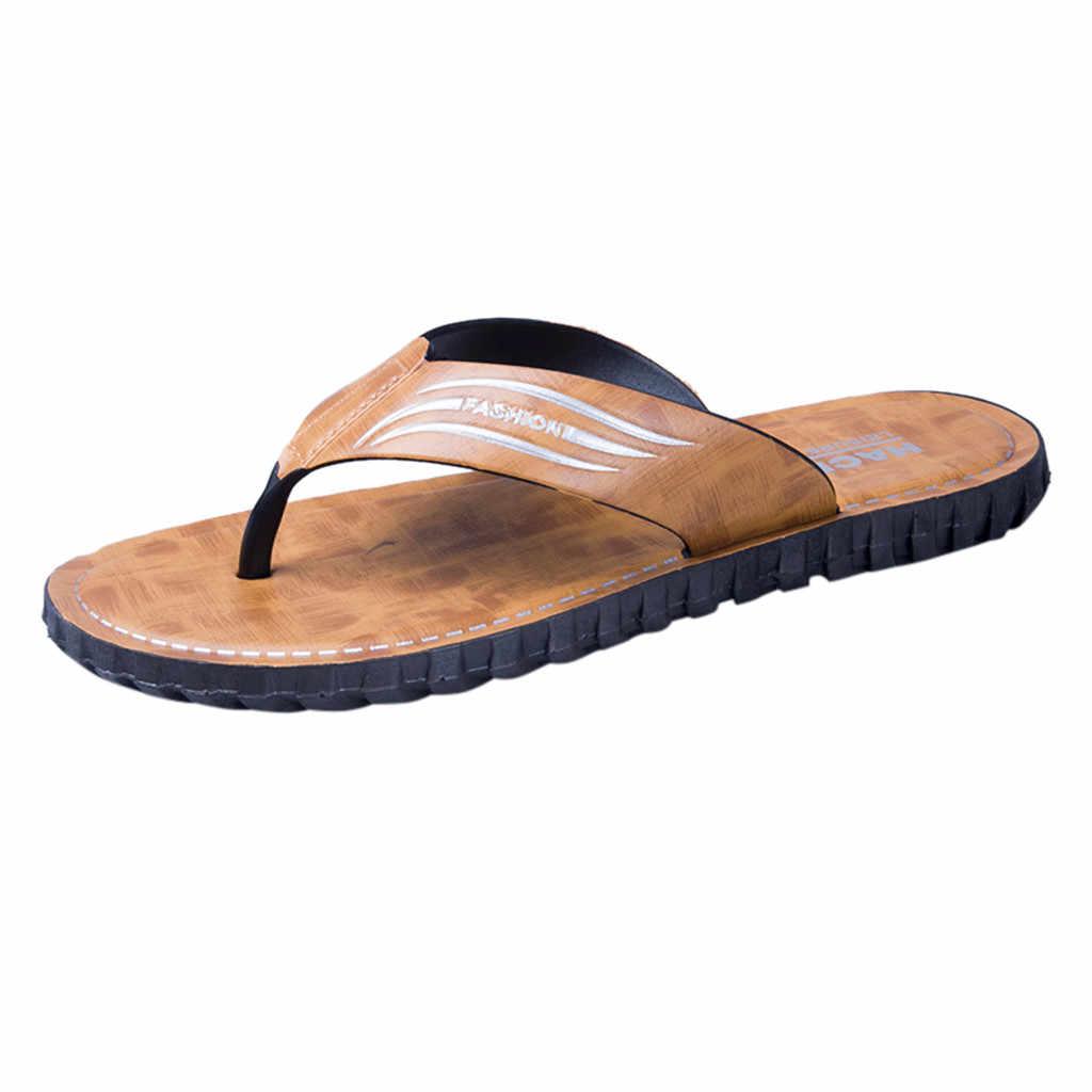 SAGACE Männer Mode Sommer PU Flip-Flops Strand Weichen Boden Feste Schuhe Wilden Komfortable Outdoor Slip-On Flache Plattform hausschuhe