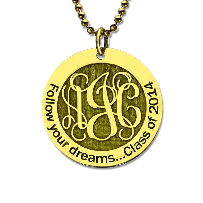 Gros Or Couleur Disque Monogramme Collier Personnalisé Gravé Initiale Bijoux Meilleur Cadeau pour La Mère