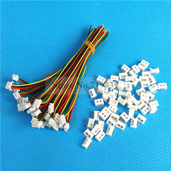 50Sets 4 Pin Single End JST Pitch 1.25mm 28AWG Wire To Board Connector