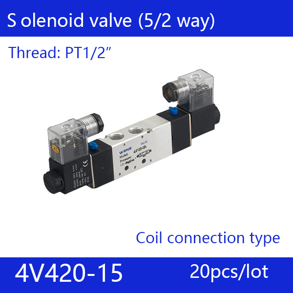 Free shipping 20pcs good qualty 5 port 2 position Solenoid Valve 4V420-15,have DC24v,DC12V,AC24V,AC36V,AC110V,AC220V,AC380V 20pcs free shipping 1 4 2 position 5 port air solenoid valves 4v330p 10 pneumatic control valve dc24v ac36v ac110v 220v 380v