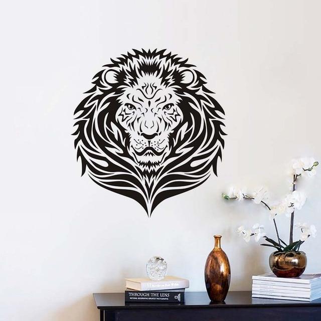 Wandaufkleber Löwenkopf Wand Aufkleber Lion Kunstwand Vinyl Wohnzimmer  Afrikanischen Dschungel Tiere Safari Wasserdichte Wandtattoos Dekor