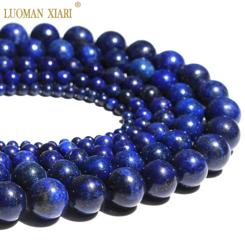 Wholesale Natural Stone Beads Round Loose Lapis Lazuli For Jewelry Making Diy Bracelet Necklace 4 /6/8/ 10/ 12mm Strand 15''