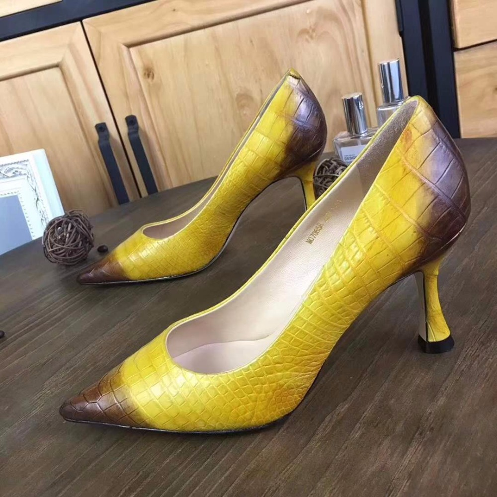 Bauchhaut Heel Gelb Schwarz Mode High Pumpe 2018 Dame Echte Lila Frauen Neue Reale Schuh Krokodil Für 100 YzaZwq