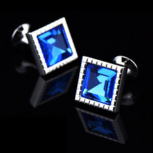 Bridegroom Wedding Party Business Men French Shirts Cuff Links Ocean Blue Cube Crystal Cufflinks Silvery Cufflink With Gift Bag