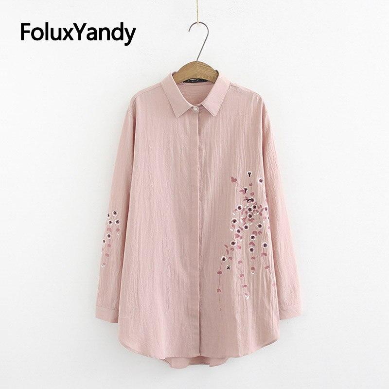 3 Colors Floral   Blouses   Women Embroidery   Shirts   Casual Long Sleeve Korean Plus Size   Blouse     Shirt   KKFY3032
