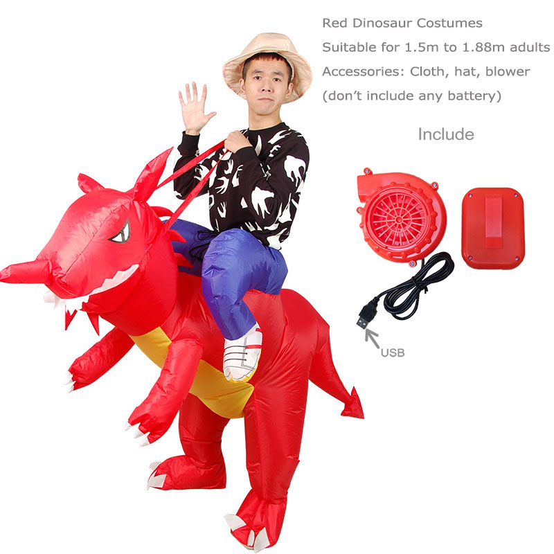 Adult T-REX Inflatable Costume Christmas Cosplay Dinosaur Animal Red Halloween Costume for Women Men Christmas Birthday
