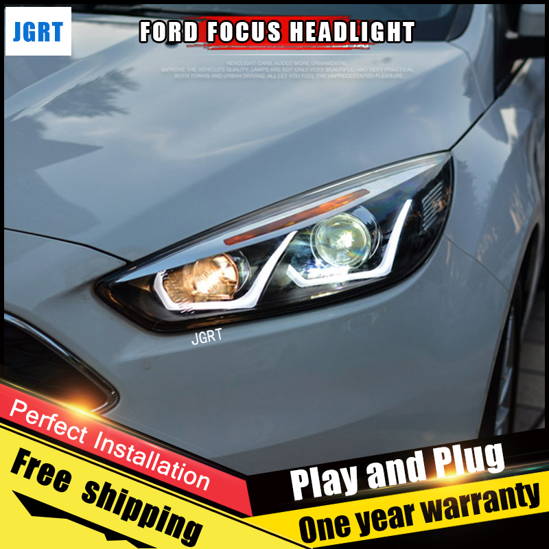 2PCS Car Style LED headlights for Ford Focus 2015 for Focus head lamp LED DRL Lens Double Beam H7 HID Xenon bi xenon lens 2pcs car style led headlights for vw polo 2011 2017 for vw polo head lamp lens double beam h7 hid xenon bi xenon lens