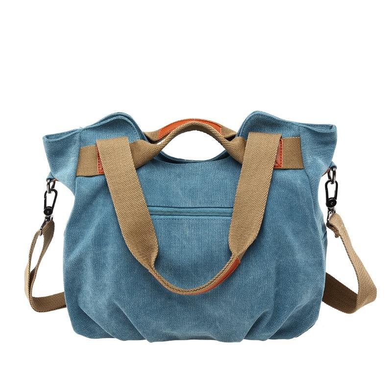 Image 4 - KVKY Brand Hot Fold Casual Tote Womens Handbag Shoulder Crossbody Bags Canvas High Capacity Bag for Women Female bolsa femininaTop-Handle Bags   -