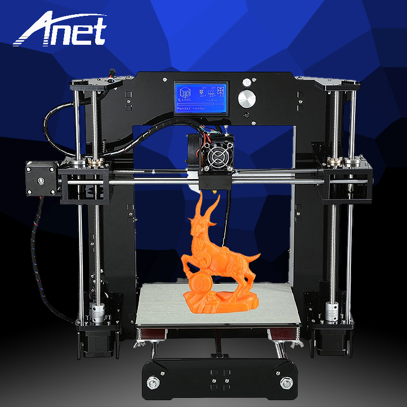 ANET A6 Upgraded Full color DIY 3D printer Prusa i3 precision with 1 Roll Filament 16GB SD card LCD screen Russian Stock quality 2016 upgrade free shipping 3d printer high precision reprap prusa i3 220 220 240mm 3d printer diy kit 0 5kg filament 8g sd card