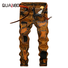 QUANBO 2017 New Arrival Europe America Jeans Hole Ripped Retro Street jeans Slim Straight Hight Quality Denim Trousers 42