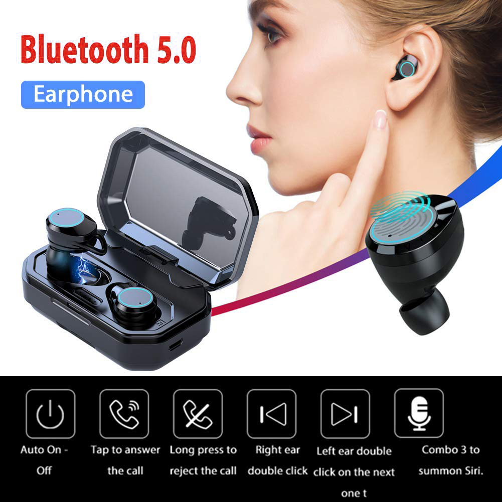 Wireless Earbuds Bluetooth 5.0 Earphones Touch Control TWS Headset IPX7 Waterproof Earphone with 3000mAh Charging Box