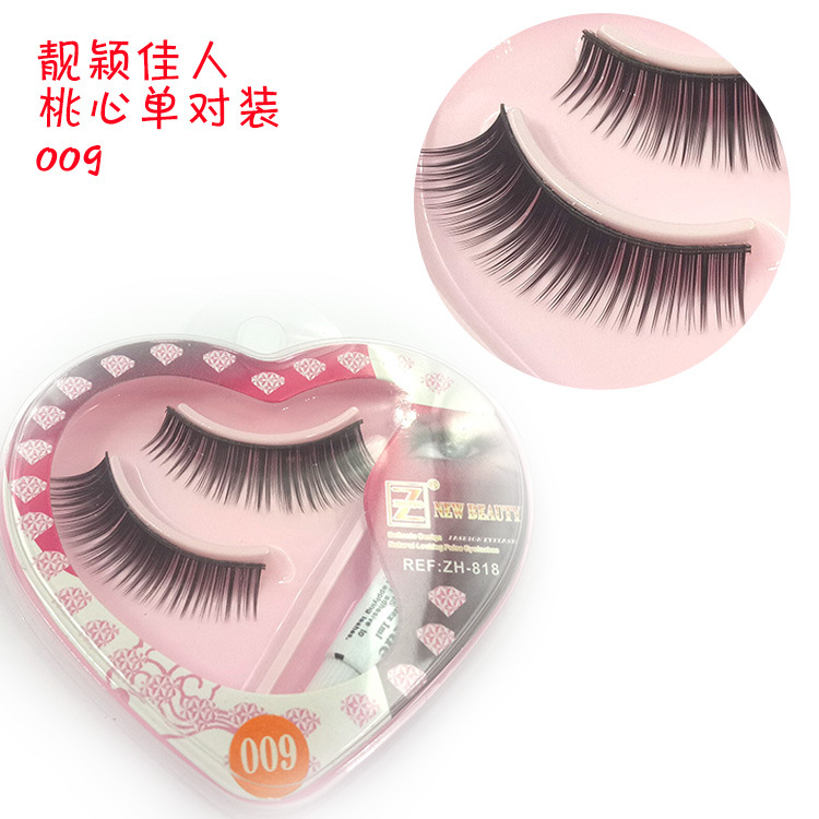 1 Pair Sell Peach Heart False Eyelashes Korea Natural Naked Makeup Long False Eyelash Handmake Eye Lashes Makeup Kit Gift #040 False Eyelashes