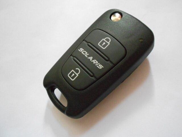 Uncut Brand New 3 Buttons Replacement Flip Car Blank Key Hyundai Solaris Shell Remote Fob Case Logo - CAR KEY FACTORY store