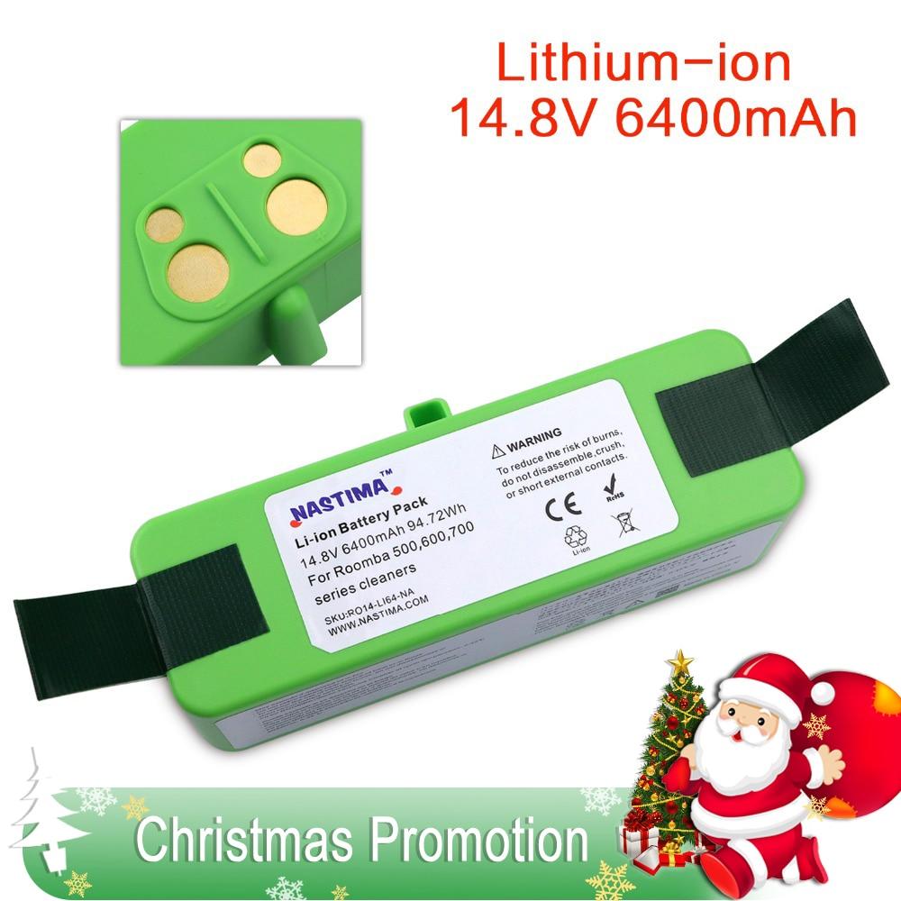 NASTIMA 14,8 V 6400 mAh batería de litio para iRobot Roomba limpiador 500 de 600 de 700 de 800 serie 980-600, 620, 650, 700, 770, 780, 800, 880