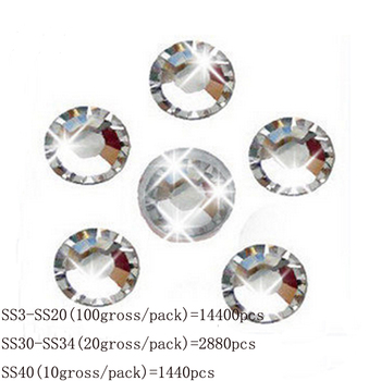 Wholesale SS3-SS40 Clear Crystal White 3D Nail Art Decoration rhinestones Silver Flatback Rhinestones Glitter Gems. 2