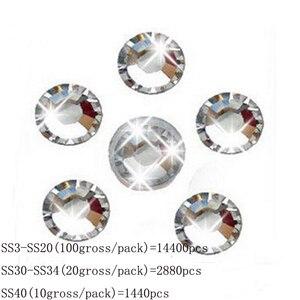 Image 2 - Toptan SS3 SS40 temizle kristal beyaz 3D Nail Art dekorasyon rhinestones gümüş Flatback Rhinestones Glitter taşlar.