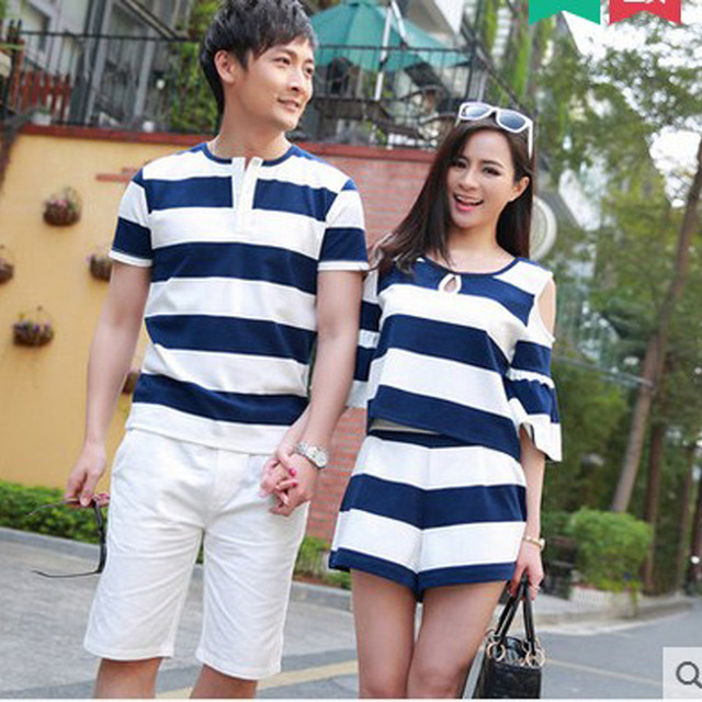 05078afb9 Family korean couple shirts fashion for beach for lovers sailor style  couple dress black matching couple clothes B528