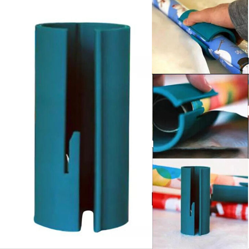 1pcs Plastic Sliding Wrapping Paper Cutter Christmas Gift Seconds Wrap Paper Cutting Tools New For Any Size Paper Roll New