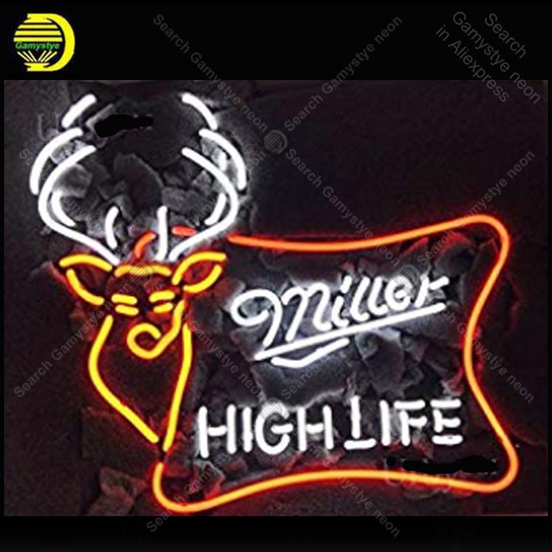 Miller High Life Neon Sign Deer Neon Bulbs Sign Beer Bar Pub Handcrafted Glass Tube signboard Neon Light Sign enseigne lumineuse