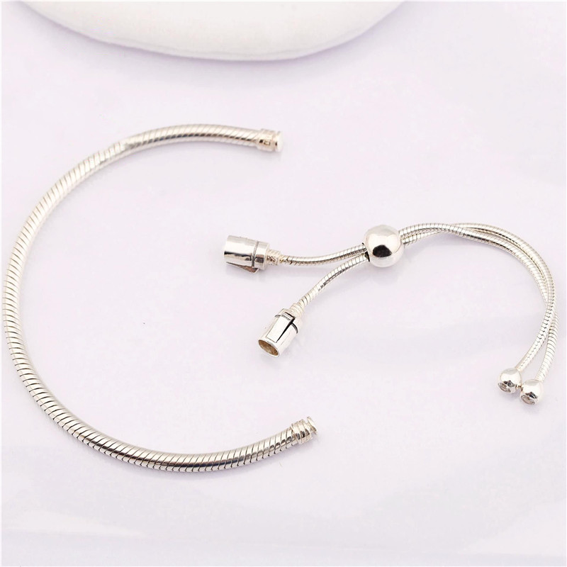 100 925 Sterling Silver Bead Charm Snake Chain Fit Original Moments Silver Sliding Pans Bracelet For Women DIY Jewelry Gift in Charm Bracelets from Jewelry Accessories
